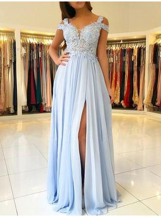 A-Line/Princess Off-the-Shoulder Chiffon Short Sleeves Floor-Length Appliques Lace Evening Dresses