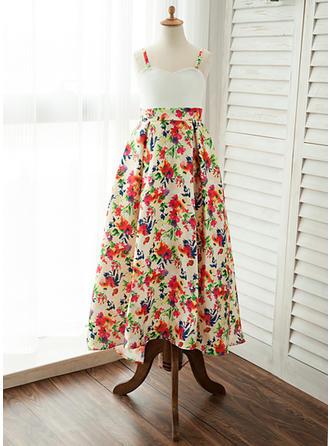 A-Line/Princess Straps Floor-length Satin Sleeveless Flower Girl Dresses
