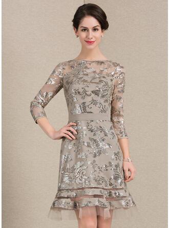 Etui-Linie U-Ausschnitt Knielang Pailletten Kleid für die Brautmutter