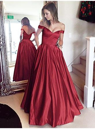 Sleeveless A-Line/Princess Prom Dresses Off-the-Shoulder Ruffle Floor-Length