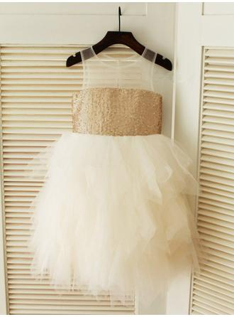Scoop Neck A-Line/Princess Flower Girl Dresses Tulle/Sequined Ruffles Sleeveless Knee-length