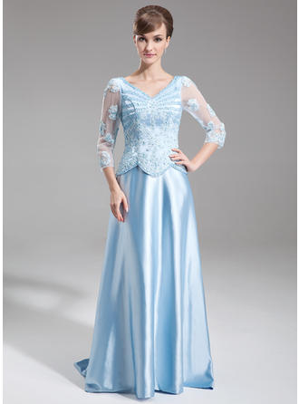 A-Line/Princess V-neck Sweep Train Mother of the Bride Dresses With Beading Appliques Lace Sequins
