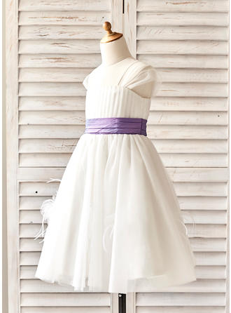 Mode Wadenlang A-Linie/Princess-Linie Blumenmädchenkleider Correas de hombro Ärmellos (010210133)