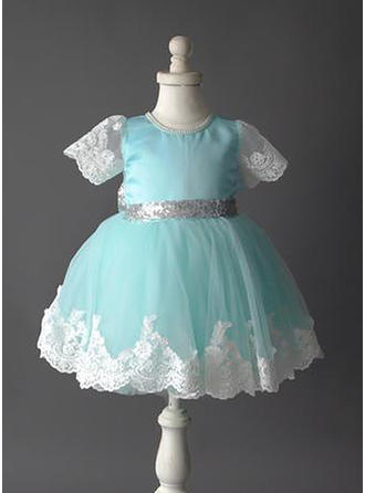 A-Line/Princess Scoop Neck Short/Mini Tulle/Lace Short Sleeves Flower Girl Dresses