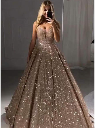 Magnificent V-neck Sleeveless Prom Dresses Floor-Length Sequined A-Line/Princess