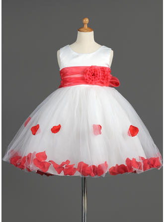 Empire Scoop Neck Knee-length With Sash/Flower(s)/Bow(s) Organza/Satin/Tulle Flower Girl Dress