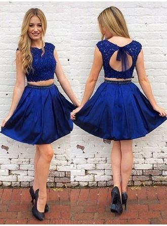 A-Line/Princess Scoop Neck Sleeveless Short/Mini Sash Beading Bow(s) Homecoming Dresses