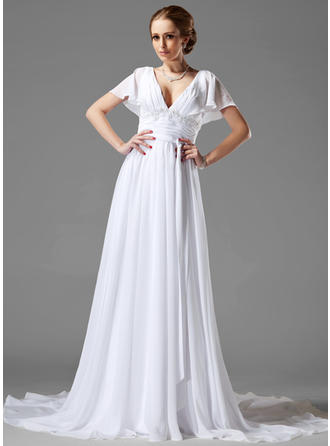 Magnificent Chapel Train A-Line/Princess Wedding Dresses Sweetheart Chiffon Short Sleeves