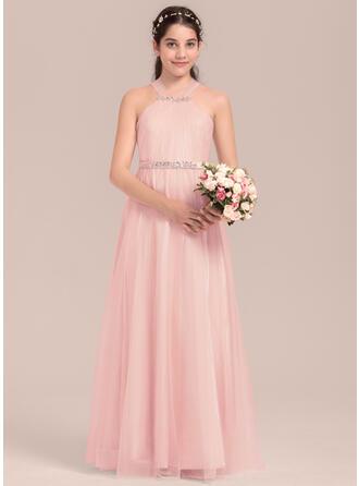 A-Line/Princess Floor-length Flower Girl Dress - Tulle/Charmeuse Sleeveless Square Neckline With Beading