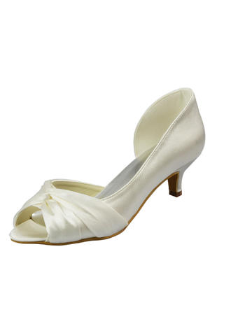 Women's Peep Toe Sandals Kitten Heel Satin With Ruched Wedding Shoes