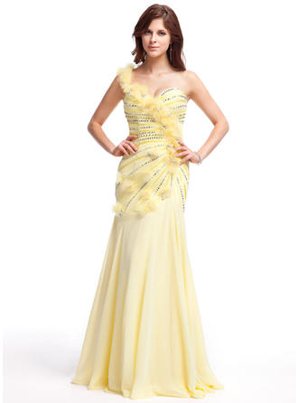 Chiffon Sleeveless A-Line/Princess Prom Dresses One-Shoulder Ruffle Beading Flower(s) Sequins Floor-Length