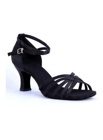 Women's Latin Sandals Satin With Ankle Strap Hollow-out Dance Shoes
