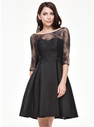 A-Line/Princess Scoop Neck Taffeta Lace 1/2 Sleeves Knee-Length Cocktail Dresses