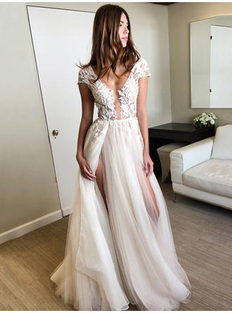 A-Line/Princess V-neck Tulle Sleeveless Floor-Length Appliques Lace Split Front Evening Dresses