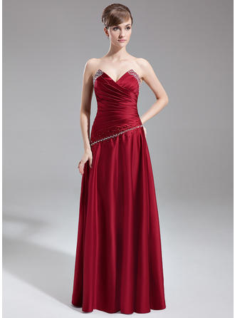 Satin Sleeveless A-Line/Princess Bridesmaid Dresses Scalloped Neck Ruffle Beading Floor-Length