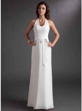 Платье-чехол С бретелью через шею Длина до пола шифон Платье Подружки Невесты с Бант(ы)