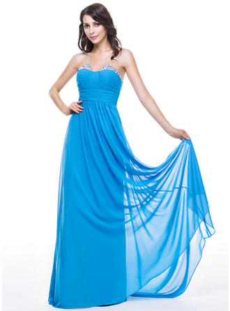 Chiffon Sleeveless A-Line/Princess Prom Dresses Sweetheart Ruffle Beading Sequins Sweep Train