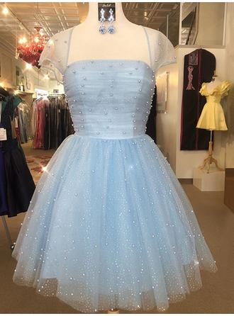 Beading Square Neckline Tulle A-Line/Princess Homecoming Dresses