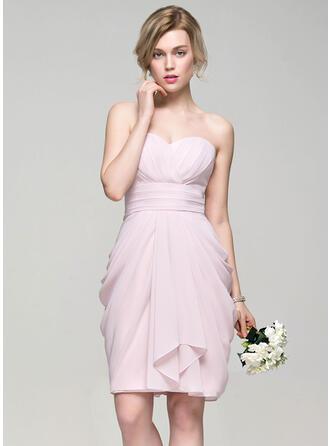 Sheath/Column Sweetheart Knee-Length Chiffon Bridesmaid Dress With Cascading Ruffles