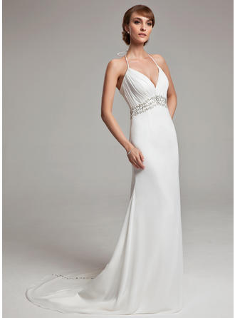 A-Line/Princess Chiffon Sleeveless Halter Court Train Wedding Dresses
