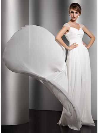 A-Line/Princess V-neck Watteau Train Evening Dress With Ruffle Beading