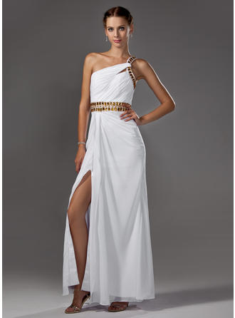 A-Line/Princess Chiffon Luxurious Floor-Length One-Shoulder Sleeveless