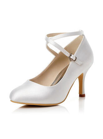 Women's Closed Toe Pumps Stiletto Heel Satin With Buckle Wedding Shoes