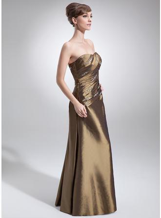 A-Linie/Princess-Linie Schatz Taft Ärmellos Bodenlang Rüschen Perlstickerei Kleider für die Brautmutter (008006009)