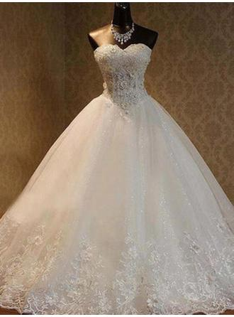 Sweetheart Ball-Gown Wedding Dresses Tulle Beading Appliques Lace Sleeveless Floor-Length
