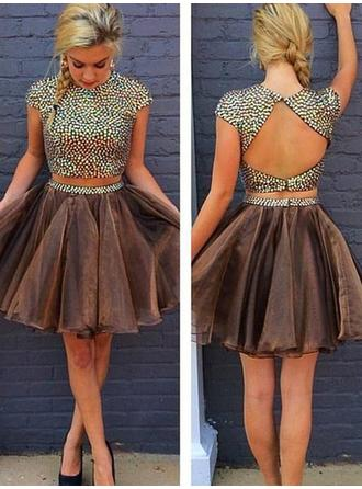 A-Line/Princess Beading Homecoming Dresses Scoop Neck Short Sleeves Detachable