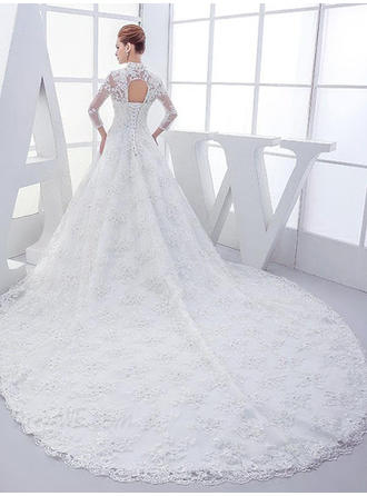 Ball-Gown High Neck Floor-Length Cathedral Train Wedding Dress With Beading Appliques Lace Sequins