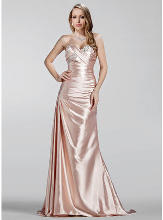 A-Line/Princess Sweetheart Charmeuse Sleeveless Sweep Train Ruffle Beading Evening Dresses