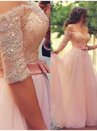 Flattering Tulle Evening Dresses A-Line/Princess Floor-Length Off-the-Shoulder 1/2 Sleeves