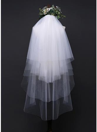 Vierschichten Spitze Saum Ellenbogen Braut Schleier mit Applikationen