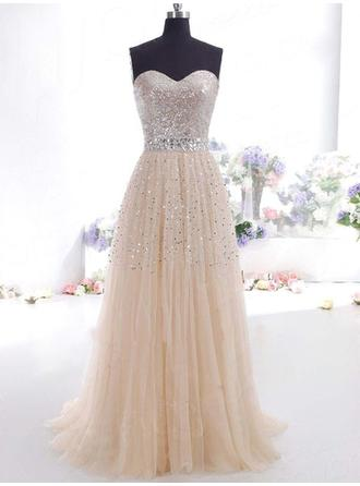 A-Line/Princess Sweetheart Floor-Length Evening Dress With Sequins
