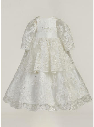 Lace Scoop Neck Beading Baby Girl's Christening Gowns With Long Sleeves