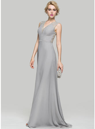 A-Line/Princess V-neck Sweep Train Chiffon Evening Dress