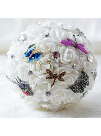 """Bridal Bouquets Round Wedding Satin/Silk/Rhinestone 11.8""""(Approx.30cm) Wedding Flowers"""