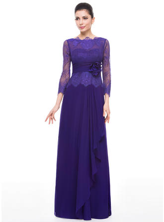 A-Line/Princess Chiffon Lace 3/4 Sleeves Scoop Neck Floor-Length Zipper Up Mother of the Bride Dresses