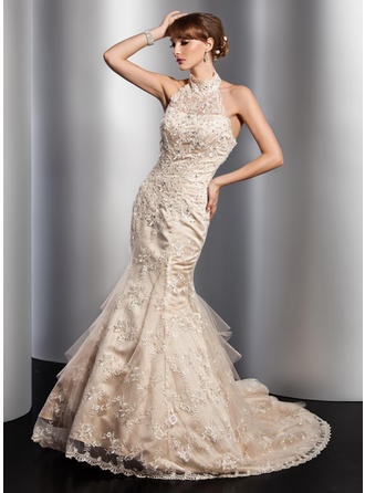 Sexy Chapel Train Trumpet/Mermaid Wedding Dresses Halter Tulle Sleeveless