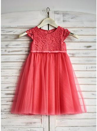 A-Linie/Princess-Linie U-Ausschnitt Knielang mit Rüschen Tüll/Lace Blumenmädchenkleider
