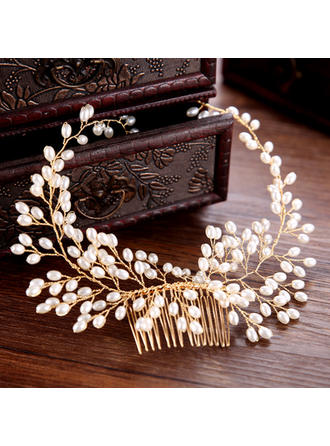 Ladies Fashion Alloy/Imitation Pearls Combs & Barrettes With Venetian Pearl (Sold in single piece) (042152676)
