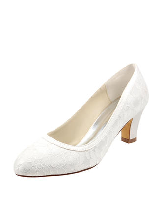 Women's Pumps Chunky Heel Silk Like Satin With Split Joint Wedding Shoes