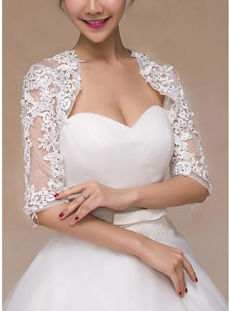 Wrap Wedding Lace Half-Sleeve With Rhinestones Wraps (013101802)