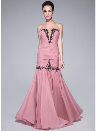 Chiffon Sleeveless Trumpet/Mermaid Prom Dresses Sweetheart Ruffle Beading Appliques Lace Floor-Length