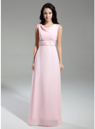 Chiffon Sleeveless Mother of the Bride Dresses Cowl Neck A-Line/Princess Beading Floor-Length