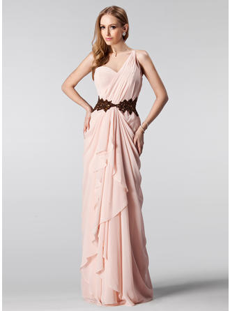 Chiffon Sleeveless A-Line/Princess Prom Dresses One-Shoulder Ruffle Beading Sequins Cascading Ruffles Floor-Length