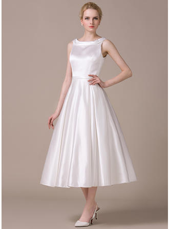 A-Line/Princess Scoop Neck Tea-Length Satin Wedding Dress