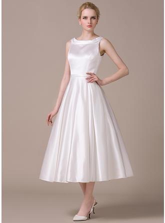 Forme Princesse Col rond Longueur mollet Satiné Robe de mariée