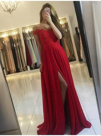 Chiffon Sleeveless A-Line/Princess Prom Dresses Off-the-Shoulder Lace Beading Split Front Sweep Train